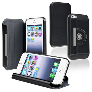BasAcc Black Leather Swivel Case for Apple iPhone 5