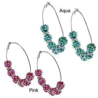 Silvertone Acrylic Bead Extra large Hoop Earrings
