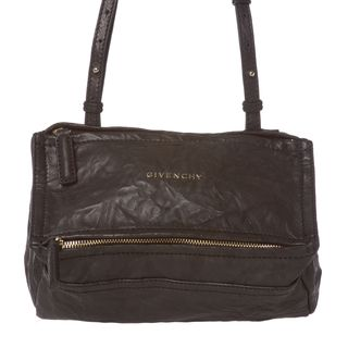 Givenchy Pepe Pandora Mini Black Crinkle Leather Cross body Bag