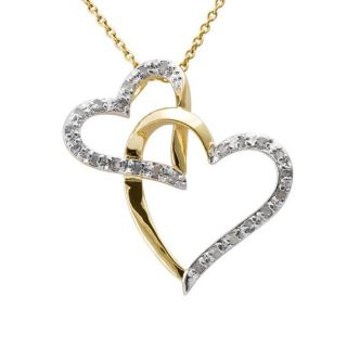 18k Gold over Silver 1/4ct TDW Diamond Double Heart Necklace