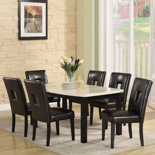 Mendoza Black Upholstered Keyhole Back 7 piece Dining Set