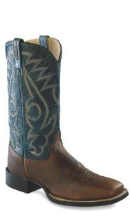 Leather Broad Square Toe Cowboy Boots   Thunder Rust / Denim Shoes
