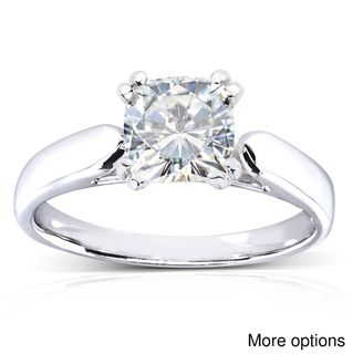 14k White Gold Cushion cut Moissanite Solitaire Engagement style Ring