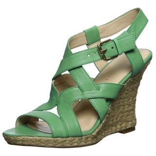 Nine West Womens Showntell Light Green Leather Wedges