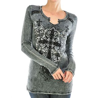 Vocal Womens Black Rhinestone Fleur De Lis Ribbed Shirt