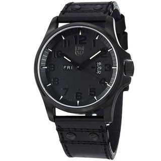Luminox Mens Field Black Dial Black Leather Strap Quartz Watch