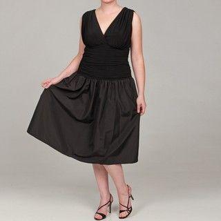 AA Studios Womens Plus Size Black Wrap Shirred Dress FINAL SALE