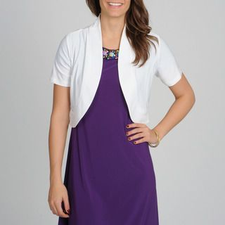 Lennie for Nina Leonard Womens White Short Sleeve Shrug