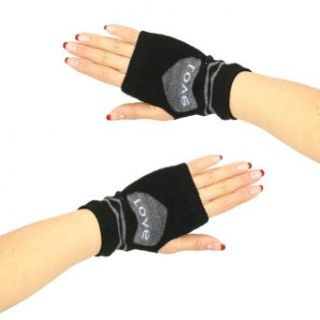 Knit Hand Warmer Fingerless Love Heart Gloves Gray with