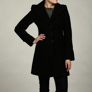Jessica Simpson Womens Black Embellished Button Coat FINAL SALE