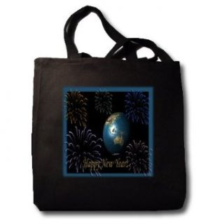 Earth with Fireworks 3d   Black Tote Bag 14w X 14h X 3d