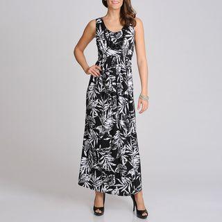 Lennie for Nina Leonard Womens Black and White Tropical Print Maxi