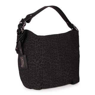 Miadora Black Tara Leopard Print Hobo Bag