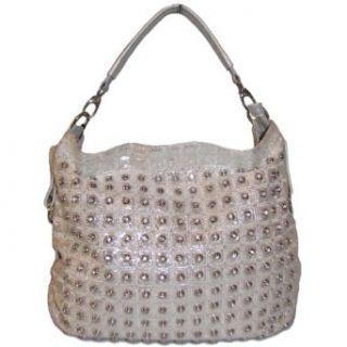 Blue Elegance Crystal Studded Quilted Handbag (Silver