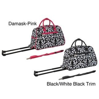 World Traveler Damask with Pink 21 inch Carry On Rolling Duffle Bag