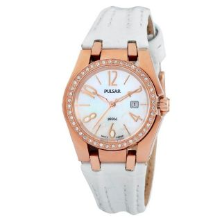 Pulsar Womens White Leather Strap Crystal accented Watch