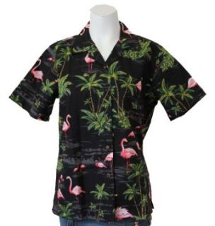 Island Flamingo Womens Hawaiian Shirt Clothing