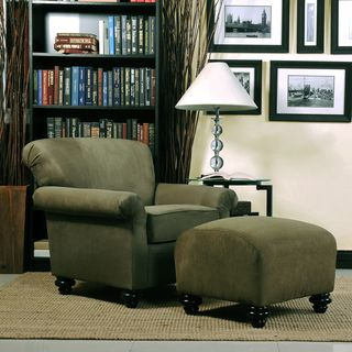 Portfolio Capri Moss Green Microfiber Arm Chair and Ottoman