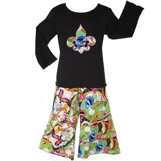 Ann Loren Boutique Girls Fleur de Lis 2 piece Set