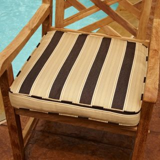Clara Brown/ Gold 19 inch Square Outdoor Chair Cushion