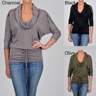 Simply Irresistible Womens Drape Neck Belted Tunic