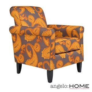 angeloHOME Harlow Desert Sunset Brown Paisley Accent Arm Chair
