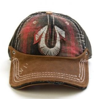 True Religion Jeans Plaid Coil Patch Leather Hat (True