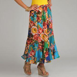 La Cera Womens Floral Print Swirl Skirt