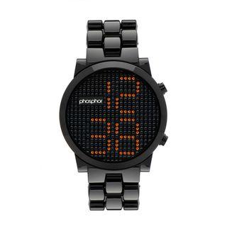 Phosphor Mens Crystal Black Bracelet Watch