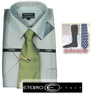 Eterno Italy Mens Italian Dress Shirt Striped Turquoise