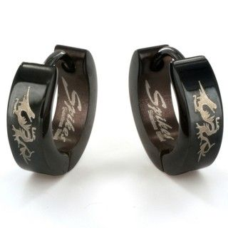 West Coast Jewelry Stainless Steel Blackplated Dragon Print Earrings
