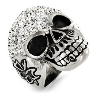 Stainless Steel Cubic Zirconia Skull Ring