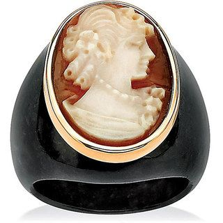 Angelina DAndrea 10k Yellow Gold Onyx Cameo Ring