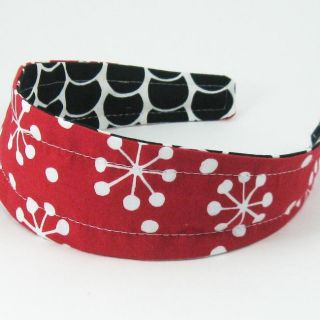 Gracie Designs Mod Black, White and Red Reversible Hard Headband
