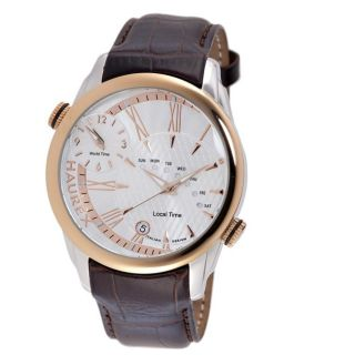 Haurex Italy Mens Big Fly Two tone Stainless Steel Dual Time Watch