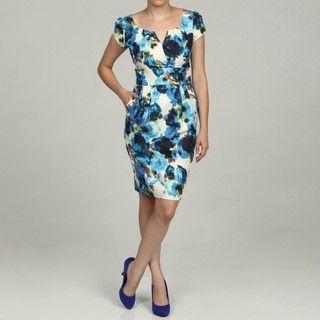 Eliza J Womens Blue Floral Print Dress