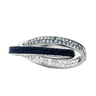 Sterling Silver Tri tone Crystals Intertwined Ring