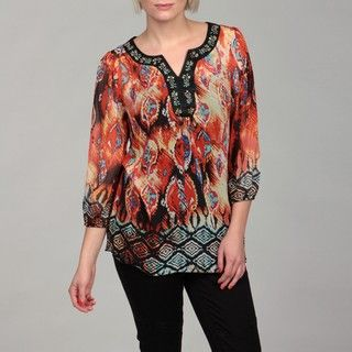 Sienna Rose Womens Bead and Sequin V neck Tunic