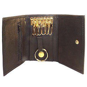MW312BK Genuine Leather Key Chain Holder Black Wallet