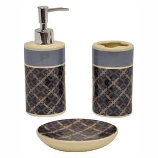 Square Root Chocolate 3 piece Bathroom Accessory Set