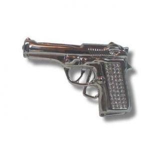 New Chrome Gun shaped rhinestone Belt buckle Clothing