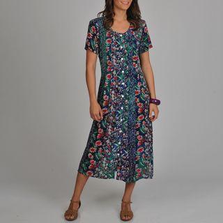 La Cera Womens Floral Print Pleated Front Dress