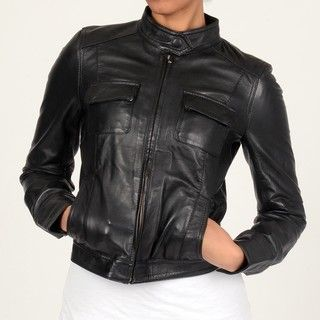 Members Only Womens Black Sylvia Leather Jacket