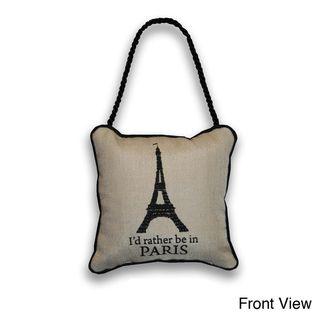 Reversible Eiffel Tower/ Bienvenue 6 inch Door Hanger Pillow