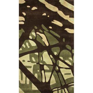 Handmade Europa Collection Green Paint Splash Rug (76 x 96