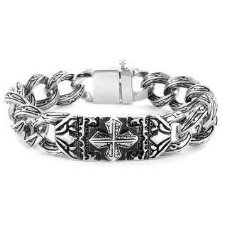 Stainless Steel Gothic Engraved Cross Bracelet