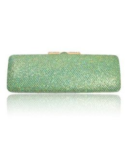 New Womens Green Sparkle Shiny Glitter Multi Color Clutch