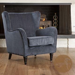 Christopher Knight Home Flores Dark Blue Jacquard Club Chair