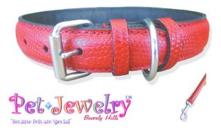 Red Padded 24 inch Leather Dog Collar &Leash