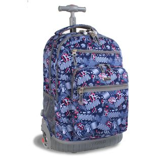 World Sunset Blinker Blue 19.5 inch Rolling Laptop Backpack